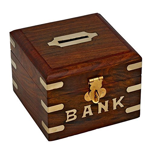 Good Friday Deals!! Treasure Chest Piggy Bank Wooden Safe Money Box Savings Banks for Kids & Adults, 4 Inches
