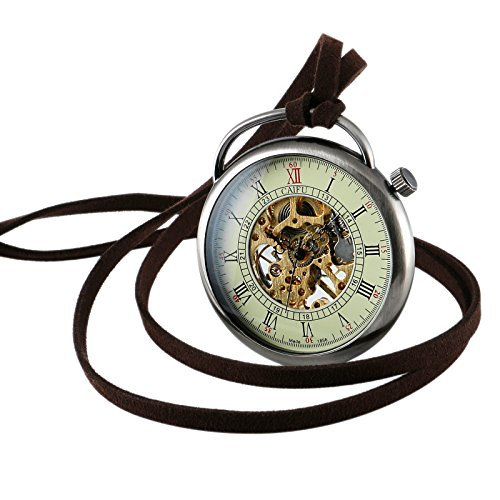 Silver Case Necklace Mechanical Pocket Watch Pendant Hand-Winding Open Face Mens by OLSUS