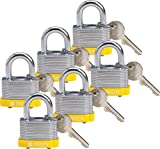 Brady 118938 Yellow, Key Retaining Steel PadLock - 3/4'' Shackle - Keyed Different (6 Locks)