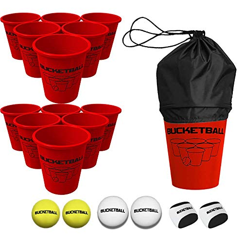 BucketBall Giant Beer Pong Edition Combo Pack - Best Beach, Pool, Yard, Camping, Tailgate, BBQ, Lawn, Water, Indoor, Outdoor Game Toy for Adults, Boys, Girls, Teens, Family