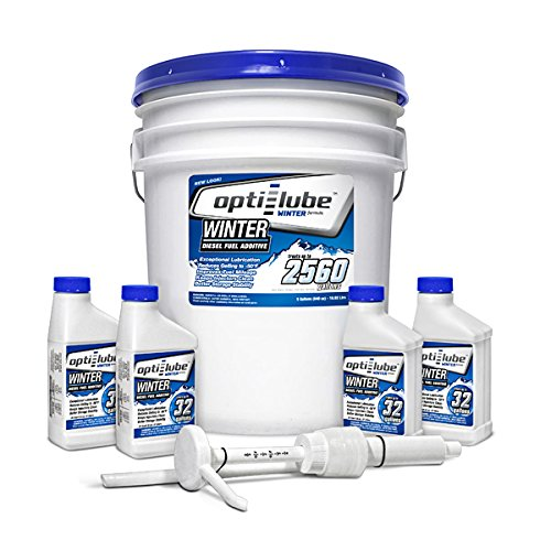 Opti-Lube Winter Formula Diesel Fuel Additive: 5 Gallon Pail with Accessories, (1 Plastic Hand Pump & 4 Empty 8oz Bottles) Treats up to 2,560 Gallons of Diesel Fuel by Opti-Lube
