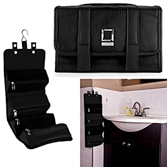 Lencca Stowaway Collection Womens Roll Up Hanging Cosmetic & Grooming Travel Bag