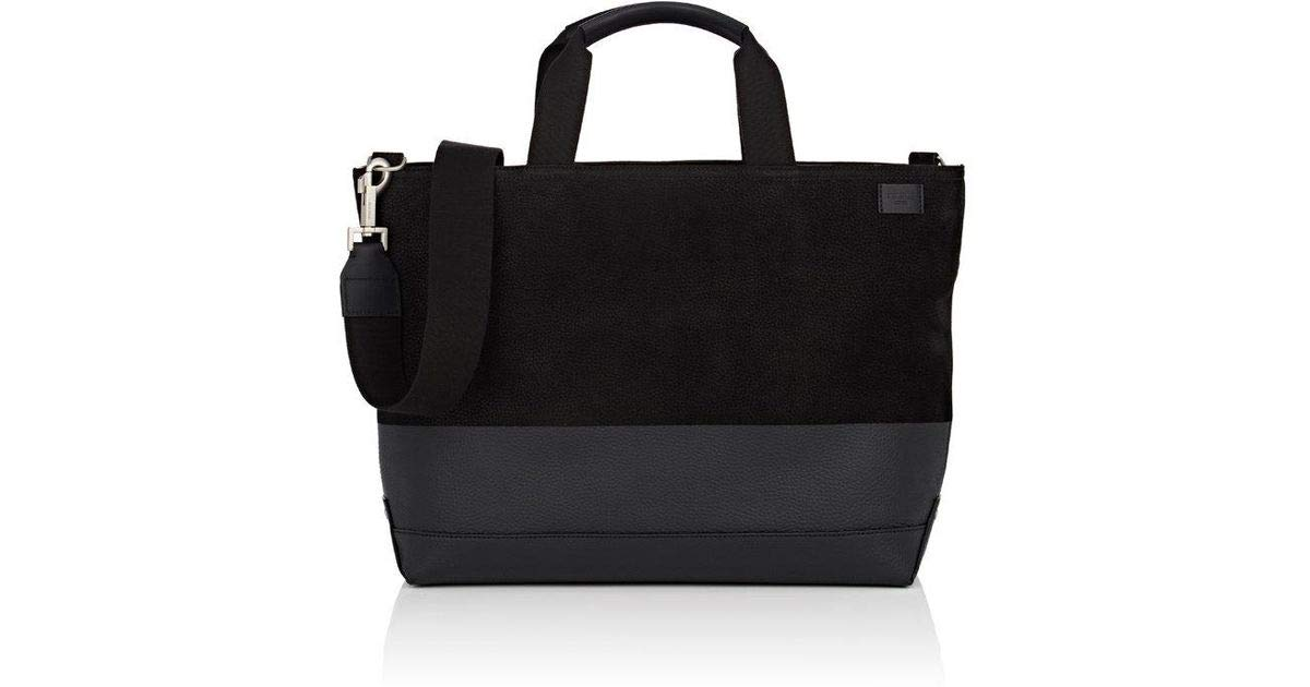 Jack Spade Leather Dipped Nubuck Coal Bag with Laptop Pocket Black
