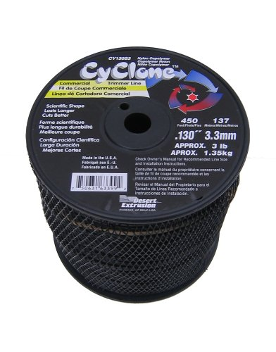 - Cyclone .130-Inch 3-Pound Spool Commercial Grade 6-Blade Grass Trimmer Line, Black CY130S3