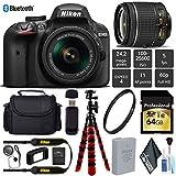Nikon D3400 DSLR 24.2MP DX CMOS Camera AF-P 18-55mm VR Lens + UV Protection Lens Filter + 12 inch Flexible Tripod + Camera Case - International Version