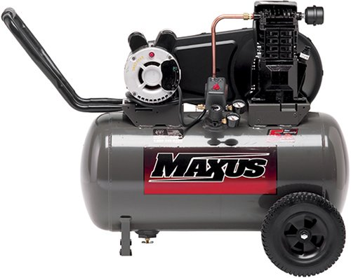 Maxus EX8300 15 Amps / 14.5 Amps 2 Horsepower 20 Gallon Wheeled Oiled Single Hot Dog Compressor Dual Voltage 120-Volt / 240-Volt