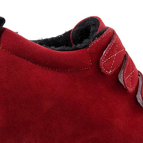 Velcro Chiusa Rosso Plastica Alto Punta Tacco Ballerine Puro Tonda VogueZone009 Punta Donna FxaHqnnB