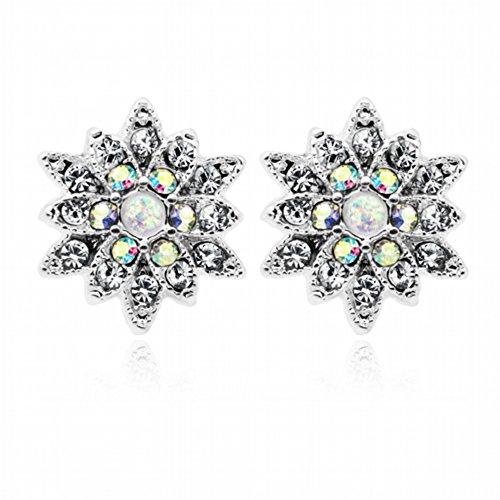 Bazooky Opal Chrysanthemum Flower Ear Stud Earrings (Clear/Aurora Borealis/White)
