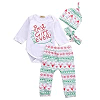 Baby Boys Girls Toddler 4pcs Christmas Set Bodysuits Leggings Headband Cap Ou...