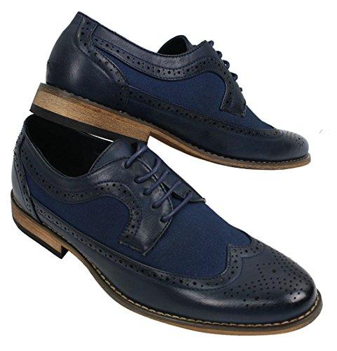 Chaussures Italien Noir Derbies Marine Et Homme Cuir Décontracté Bleu Vintage Chic Pu Design Simili Marron Rétro qFqrwgY