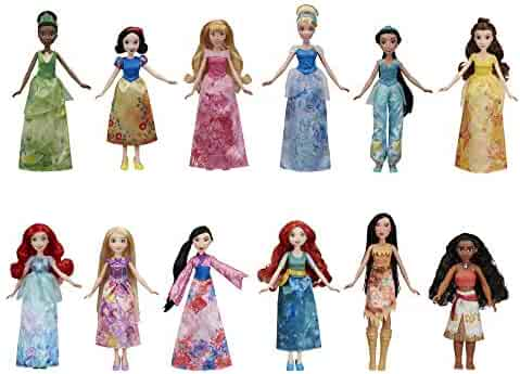 Disney Princess Royal Collection, 12 Fashion Dolls -- Ariel, Aurora, Belle, Cinderella, Jasmine, Merida, Moana, Mulan, Pocahontas, Rapunzel, Snow White, Tiana (Amazon Exclusive)