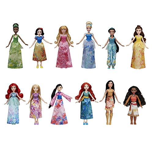 Disney Princess Royal Collection, 12 Fashion Dolls -- Ariel, Aurora, Belle, Cinderella, Jasmine, Merida, Moana, Mulan, Pocahontas, Rapunzel, Snow White, Tiana (Amazon Exclusive) -