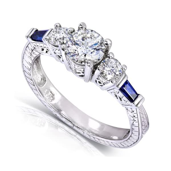 5f5dc9174b345 Vintage Three Stone Diamond and Sapphire Engagement Ring 1 Carat (ctw) in  14k White Gold