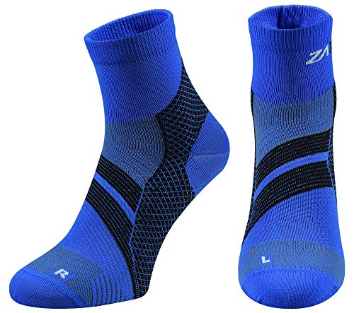 Anklet Soccer (ZaTech Plantar Fasciitis Sock, Compression Socks for Men & Women. Heel, Ankle & Arch Support. Increase Blood Circulation, Reduce Swelling, Foot Pain Relief. (Blue/Black, Small))