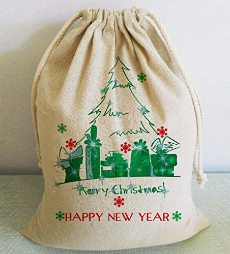 Christmas Stocking Personalized Santa Sacks Happy New Year Gift Bags Home Decorations ()