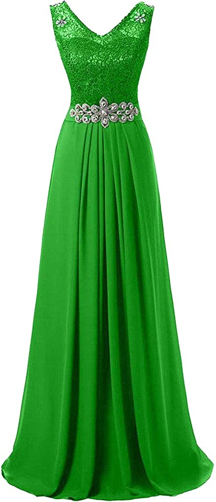 DINGZAN 2019 Lace Chiffon V Neck Formal Prom Dance Dress Bridesmaid Gowns