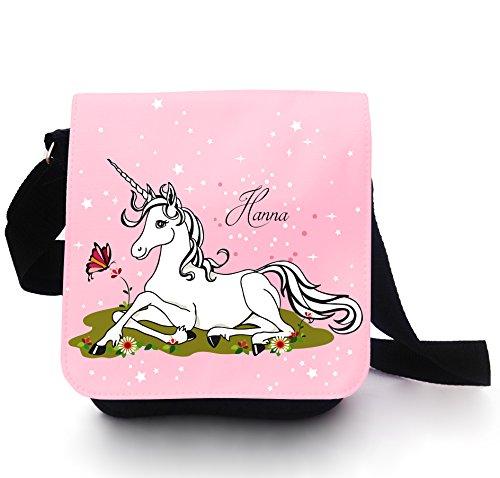 Borsa per bambini, a tracolla, motivo: unicorno su prato, con fiori, farfalle, stelle a pois, personalizzabile kt108