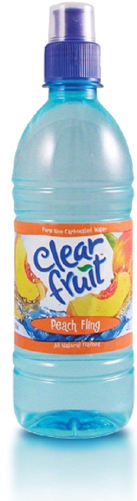 Clear Fruit Peach Fling Water Sport Bottle, 16.9 oz (24 Pack)