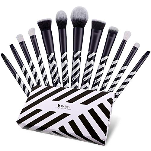 s 12 Pcs Premium Gift Synthetic Goat Foundation Powder Concealers Contour Eye Shadows Blending Face Brow Lip Blush Make Up Brushes Kit (Black and White) ()