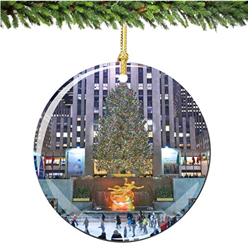 Rockefeller Center Christmas Ornament, Christmas Tree Porcelain 2.75
