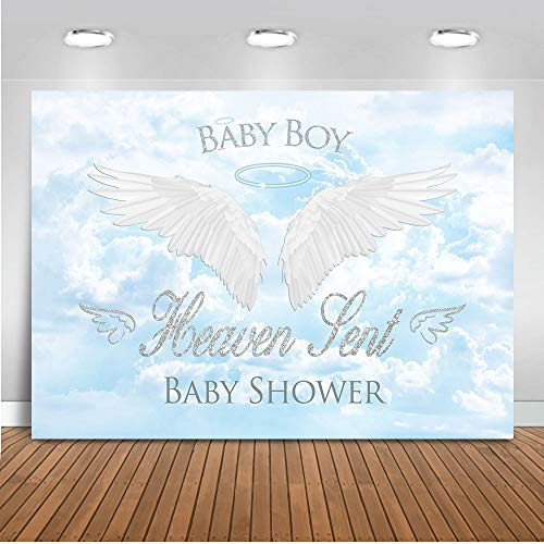 - Mocsicka Heavent Sent Baby Shower Backdrop 7x5ft Vinyl White Cloud Baby Boy Angel Wings Photo Backdrops Blue Sky Heaven Sent Theme Party Banner Photography Background