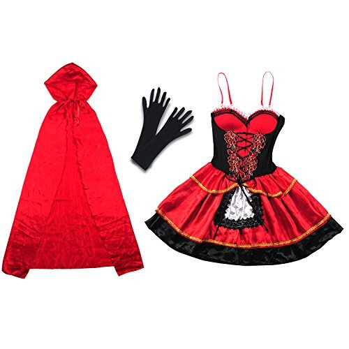 Halloween Costume, Vitalismo Wench Little Hooded Cosplay Dress with Cape Glove (Sexy Cowgirl Lingerie)