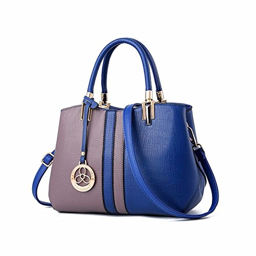 Patchwork Cuir MSZYZ Top Sac Bandoulière gris à à PU Femme Sacs Main bleu Sac Handle R55rnwSBq