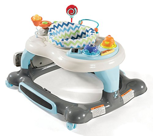 Storkcraft 3-in-1 Activity Walker and Rocker with Jumping Board, Blue/Gray, Interactive Walker with Toy Tray and Jumping Board for Toddlers and Infants