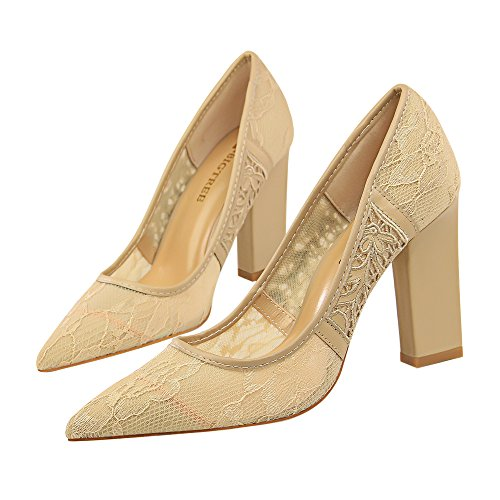 Shoes Heel apricot Show Sexy Pumps Slide Mesh High Shine Women's 4w8xnq76R