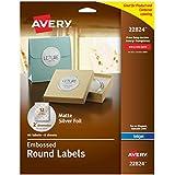 "Avery Easy Peel Embossed Matte Silver Foil Round Labels, 2"" Diameter, Pack of 96 (22824)"