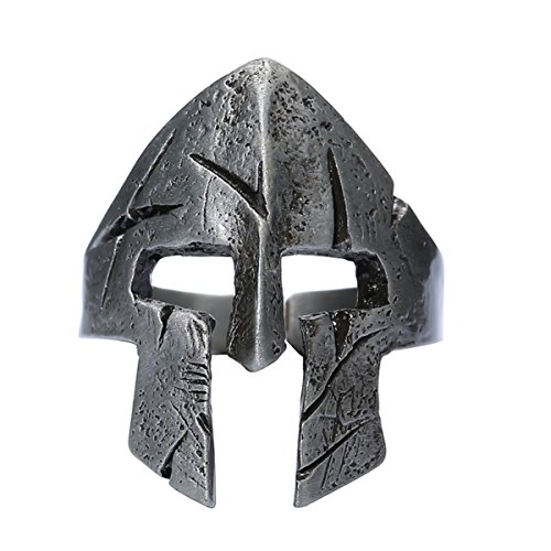 W WOOGGE Men's Gothic Biker Punk Vintage Ring Spartan Mask Helmet Nordic Pagan Adjustable Viking Rings (1213-001RG MASK Antique Tin)]()