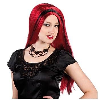 Party Discount Nuevo Peluca Bruja Aurora Rojo con mechones Negras