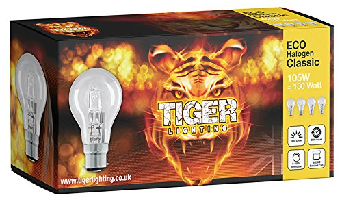 4 Pack A60 Classic 105W = 130W ECO Halogen (B22) Bayonet Cap (BC) Candle light bulb offer a sparkling crisp natural light with warm white 2700k colour temperature creating the perfect ambiance with 1860 lumen output.