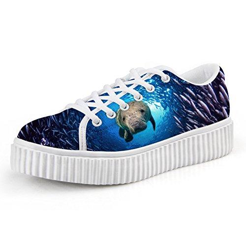 HUGS IDEA Cute Puppy Print Platform Shoes Fashion Lace Up Low Top Sneaker Sea Lion tNdAgr2W