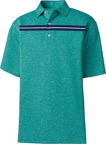 (FootJoy Men's Stretch Pique Space Dye Chest Stripe Golf Polo - Emerald/Navy/White, M)