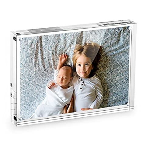 4x6 Clear Acrylic Picture Frame - Double Sided Magnetic Acrylic Photo Frames - Desktop Only - 1-Year Warranty by American Lifetime (1 - 4x5 Magnet