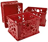 Storex Mini Crate, 9 x 7.75 x 6 Inches, School Red, Case of 3 (61491U03C)