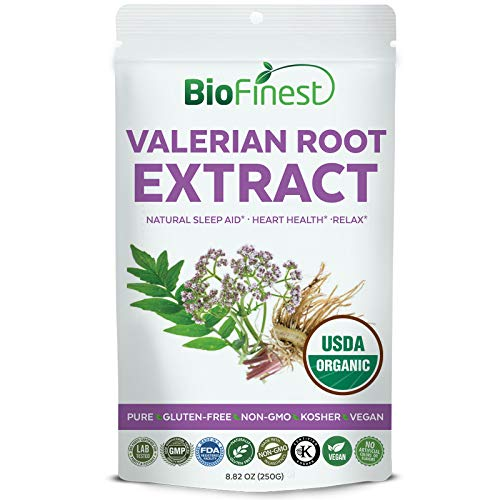 Biofinest Valerian Root Extract Powder – USDA Certified Organic Pure Gluten-Free Non-GMO Kosher Vegan Friendly – Natural Supplement for Healthy Sleep, Relax and Heart Health (250g) For Sale