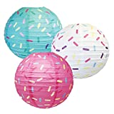 Just Artifacts 12inch Hanging Paper Lanterns (Sprinkles Pattern, 3pcs)