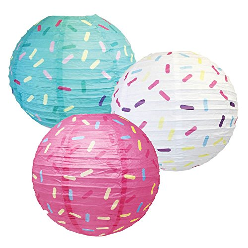 Just Artifacts 12inch Hanging Paper Lanterns (Sprinkles Pattern, 3pcs) ()