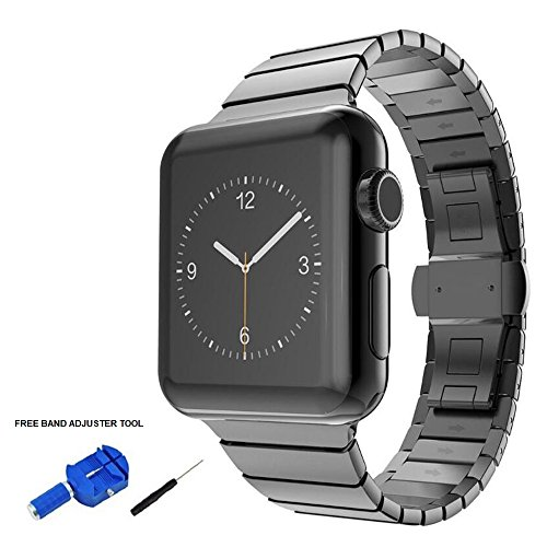 Black Butterfly Silver Link Watch - Apple Watch Band 38mm, Black Stainless Steel Link Bracelet and Butterfly Buckle Clasp by Palestrapro. iWatch Replacement Band for Series 3,2,1 for Men and Women. Classy, Sport Edition Choice.