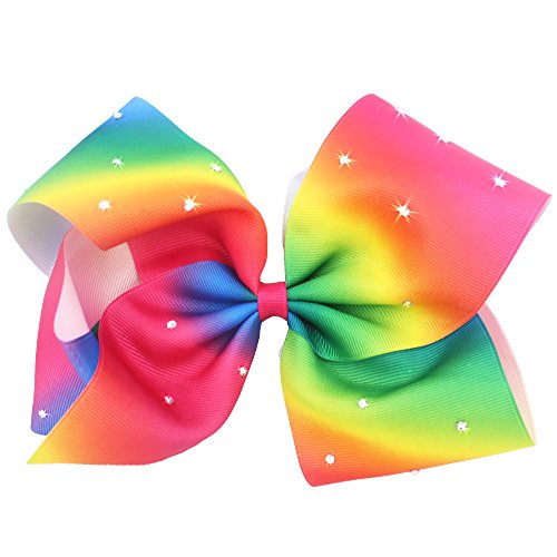 Boutique Large Big Grosgrain Ribbon Glitter Rhinestones Rainbow Bow Alligator Hair Clips for Girls,Teens ()