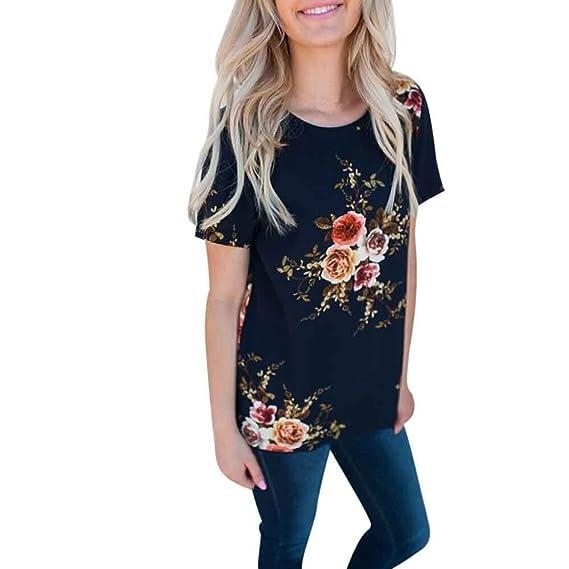 Gusspower Camisetas Verano de Mujer, 2018 Moda Casual Camiseta Estampada Floral Manga Corta con Cuello