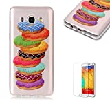 For Samsung Galaxy J7 2016 Case [with Free Screen Protector],Funyye Soft TPU Gel Case Cute Simple [Colorful Painting Pattern] Ultra Slim Flexible Protective Skin Back Cover for Samsung Galaxy J7 2016 - Donut