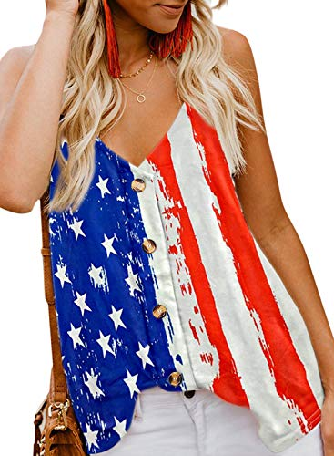 FARYSAYS Women's 4th of July Patriotic American Flag V Neck Button Down Tank Tops Casual Sleeveless Shirts Blouses Small