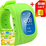 GBD GPS Tracker Smart Watch for Kids with Sim Card Smartwatch Phone Anti-lost Finder SOS Gprs Children Fitness Tracker Wrist Watch Bracelet with Parents Control App for Smartphone (Green)