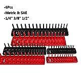 TNPSHOP 6Pcs/Set Socket Organizer Holder Storage Trays - 1/4, 3/8, 1/2 - SAE & Metric