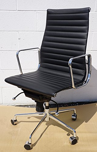 Lider Leather - Office High Back Ribbed Arm Chair (Black Leather) Compared to Eames Lider