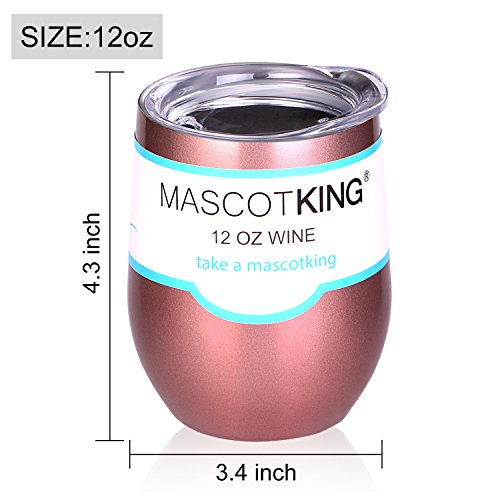 12 oz Insulated Stemless Glass,Stemless Wine Glass,Wine Tumbler, Exclusive for Home, Office,Perfect for Wine,Coffee, Drinks,Champagne,Cocktails by MASCOTKING (Image #3)