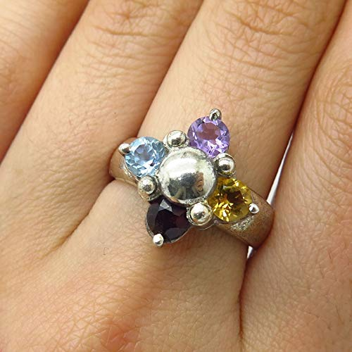 925 Sterling Silver Real Multi-Color Gemstone Wide Cross Ring Size 7 3/4 Jewelry by Wholesale Charms